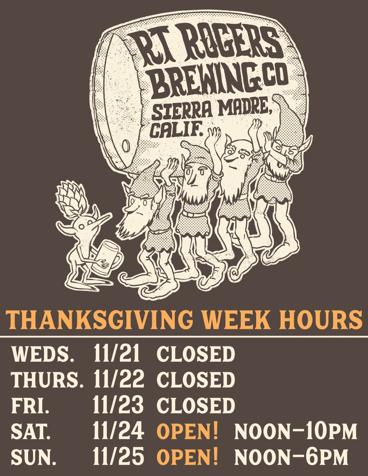 This graphic displays our thanksgiving 2018 hours. we will be closed Wednesday through Friday but will be open for regular hours on the weekend.