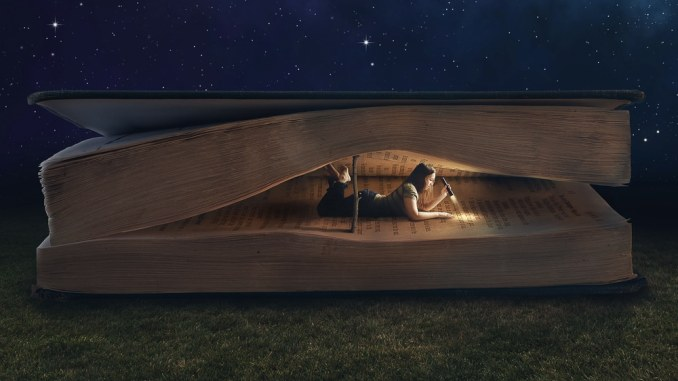 reading book at night
