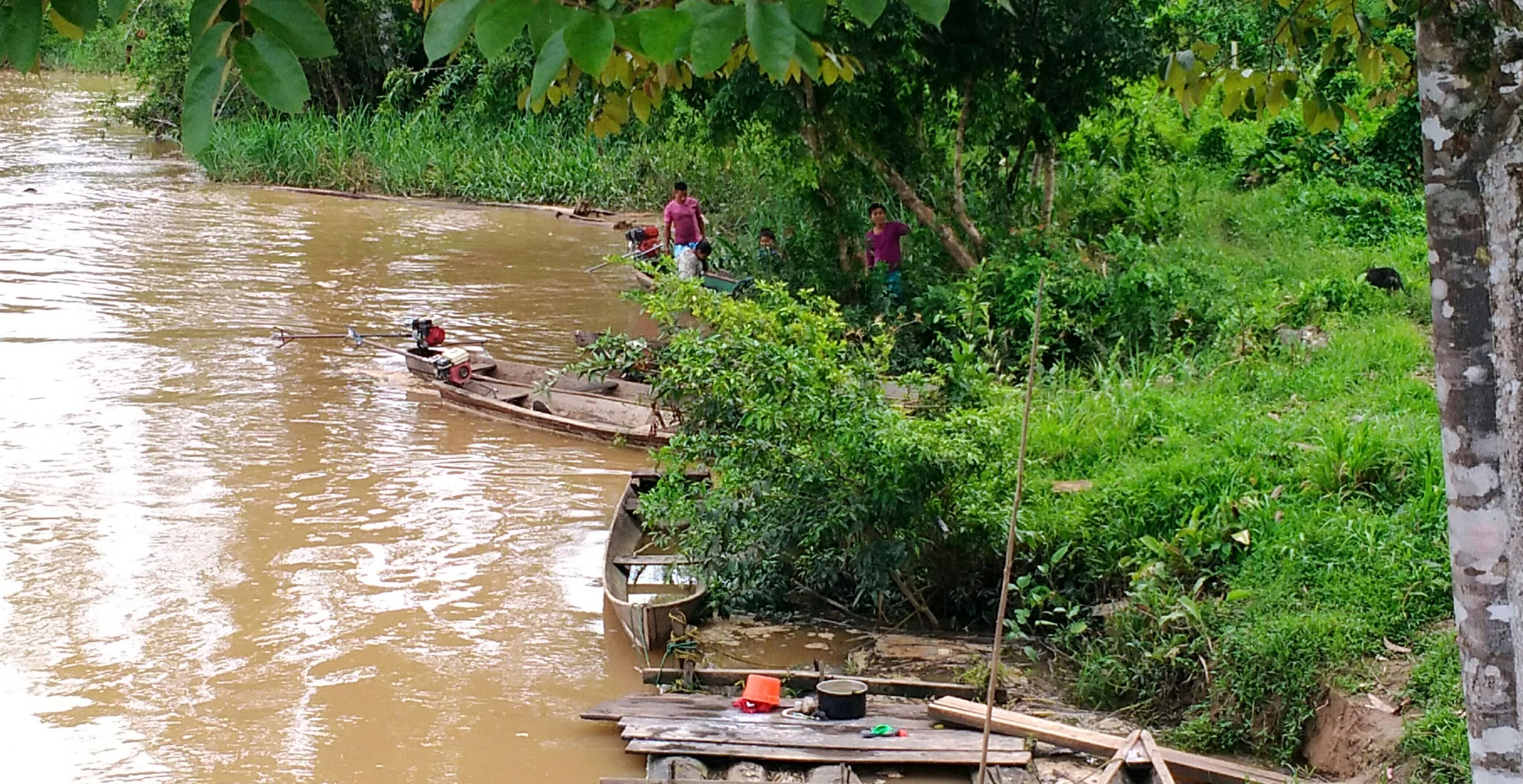 Puerto en madera, allí llegan los peque peque de los habitantes de Puerto Puntales. Foto: Mauricio Orjuela.