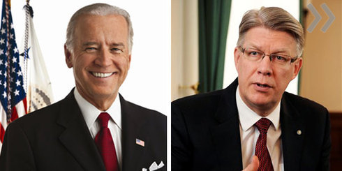 Вице-президент США Джозеф Байден обсудил в пятницу в Вашингтоне с  премьером Латвии Валдисом Затлерсом итоги своего визита в Россию