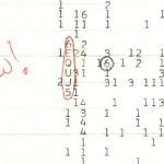 Фрагмент оригинальной распечатки полученного сигнала с пометкой «Wow!», в настоящее время хранящейся в коллекции Исторического Общества штата Огайо