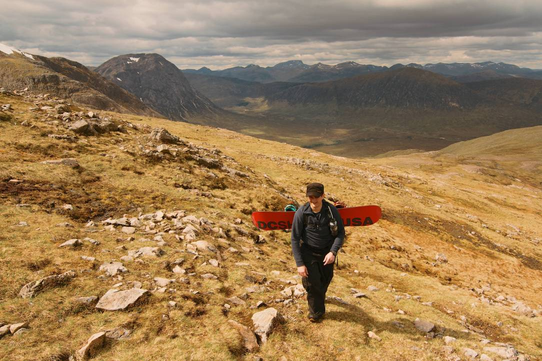 Graeme earns his turns hiking up Happy Valley with the Buachaille and the Ben in the background.