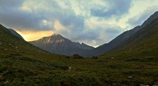 Looking back up Glen Rosa on Arran. Cir Mhor in evening sunshine.