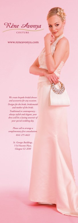 Half page advertisement for a bespoke dressmaking service.