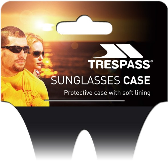 Printed polypropylene display hanger for sunglasses case.