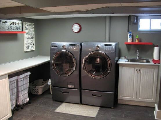 Unfinished Basement Laundry Room Ideas