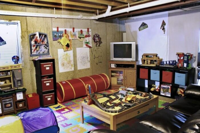 Unfinished Basement Ideas for Playroom