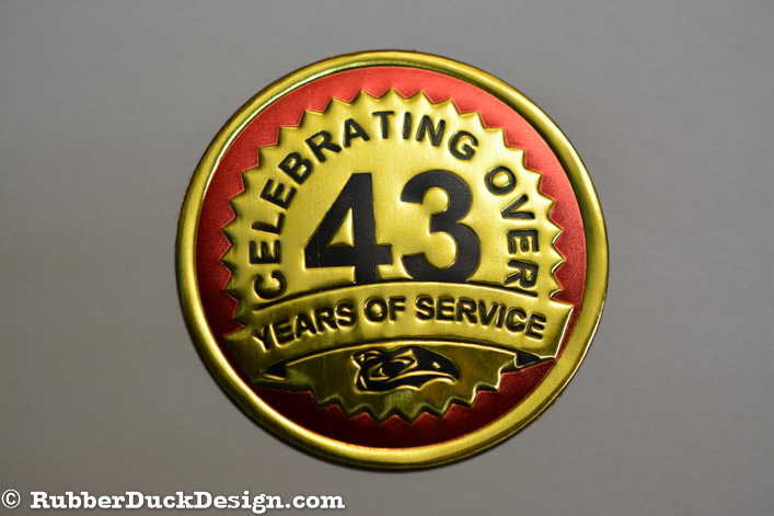 Embossed Gold Foil Seal with Red and Black Tint - 43rd Anniversary