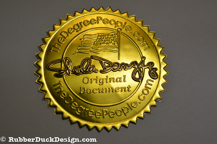 Embossed Gold Foil Seal with Blind Embossing and Blue Tint - Notary Seal