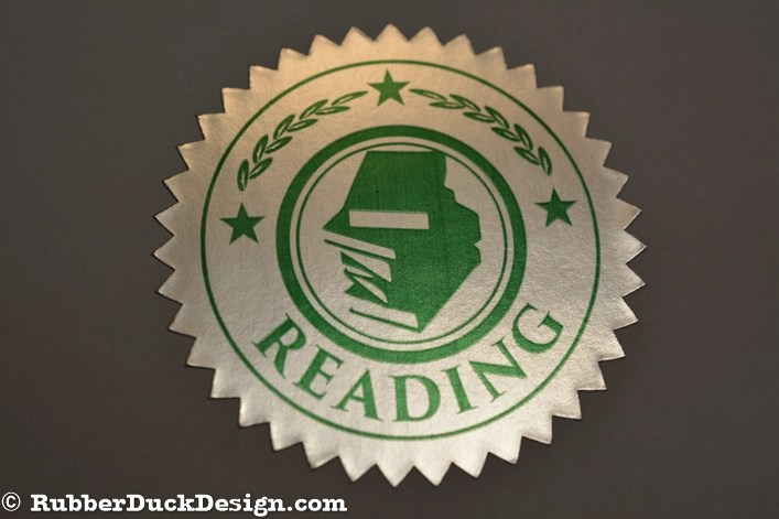 Ink Printed Seal - Green Ink on Bright Silver Foil