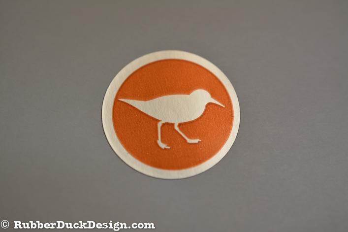 Ink Printed Seal - Orange Ink on Burnished Silver Foil
