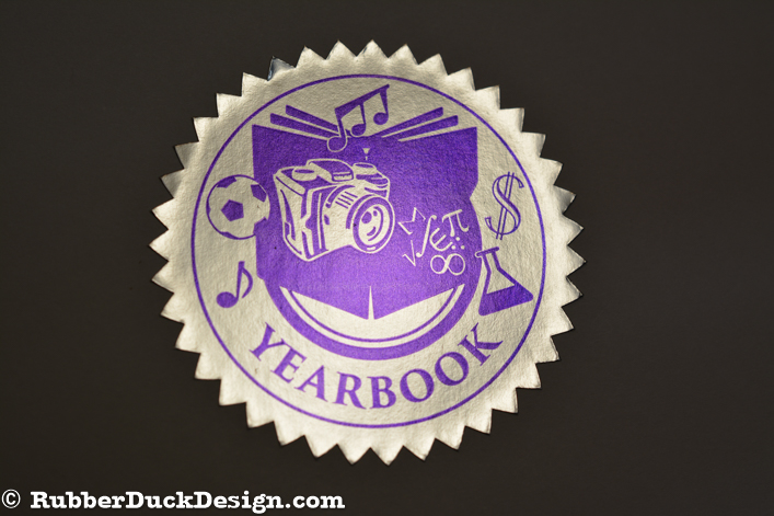 Ink Printed Seal - Purple Ink on Bright Silver Foil