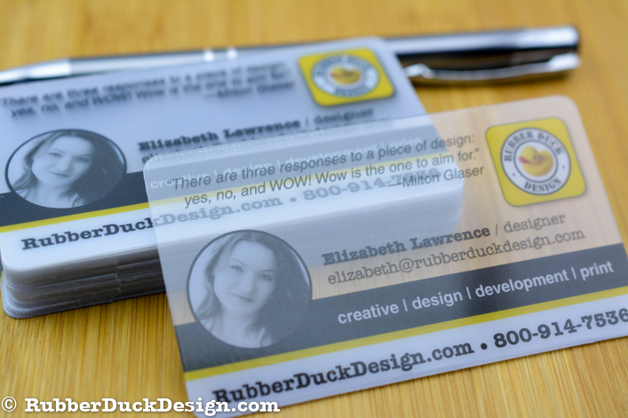Clear plastic business cards plus full color printing