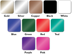 gold, silver, copper, black, white, blue, green, red, teal, purple, or pink foil imprint