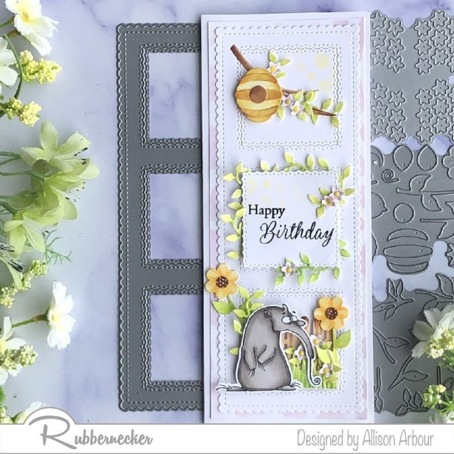 Come check out this slimline birthday card created using all new slimline dies and a SUPER cute stamp!