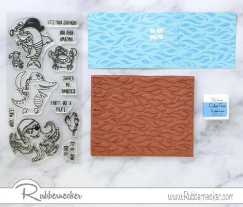 Rubbernecker Blog Pirate-Ship-Slimline-Card-by-Annie-Williams-for-Rubbernecker-Stamped-Background-500x426