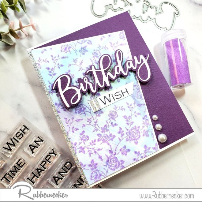 quick and easy birthday cards made using background stamps and simple die cuts from Rubbernecker