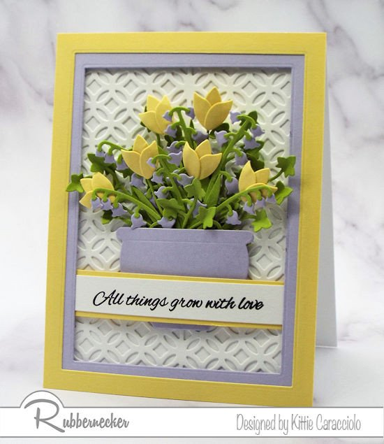 A really pretty flower card idea in yellow and lavender for any occasion