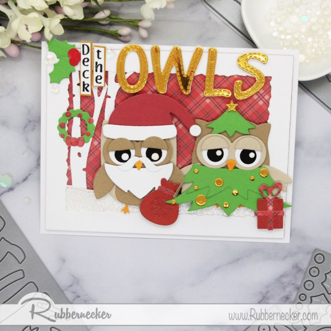 funny homemade christmas cards with costumed die cut owls from Rubbernecker