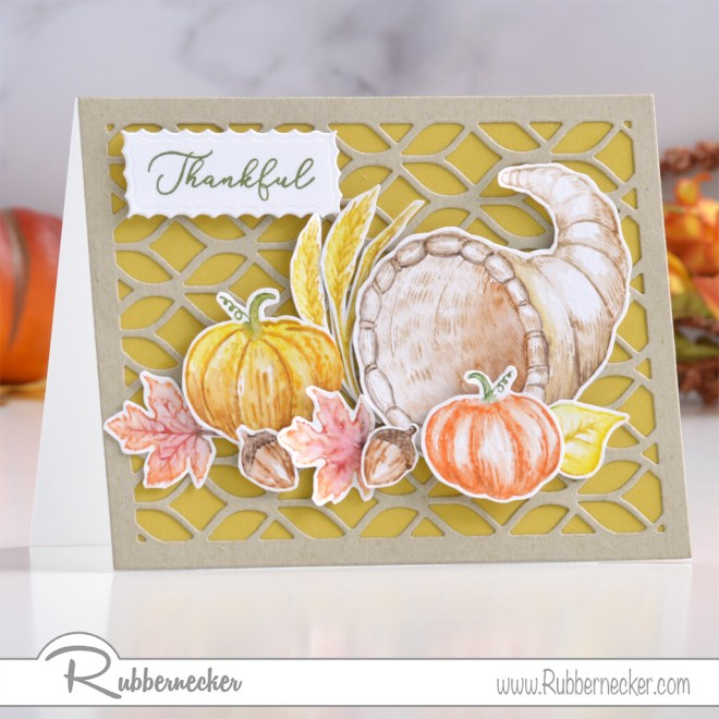 autumn thank you cards made by watercoloring directly on stamps for a hand painted look
