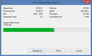 7-Zip Compression Dialog