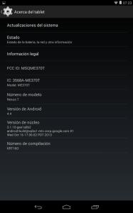 Nexus 7 (2012) running KitKat