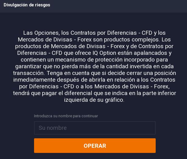 IQ Option cuenta demo registro