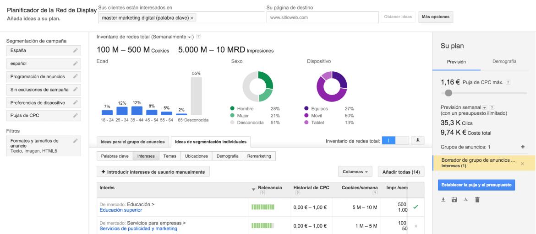 Herramienta para identificar a tu audiencia Display Planner de Google