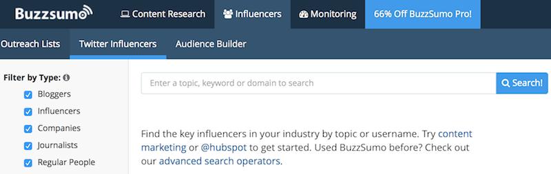 buzzsumo herramienta buscar influencers en twitter