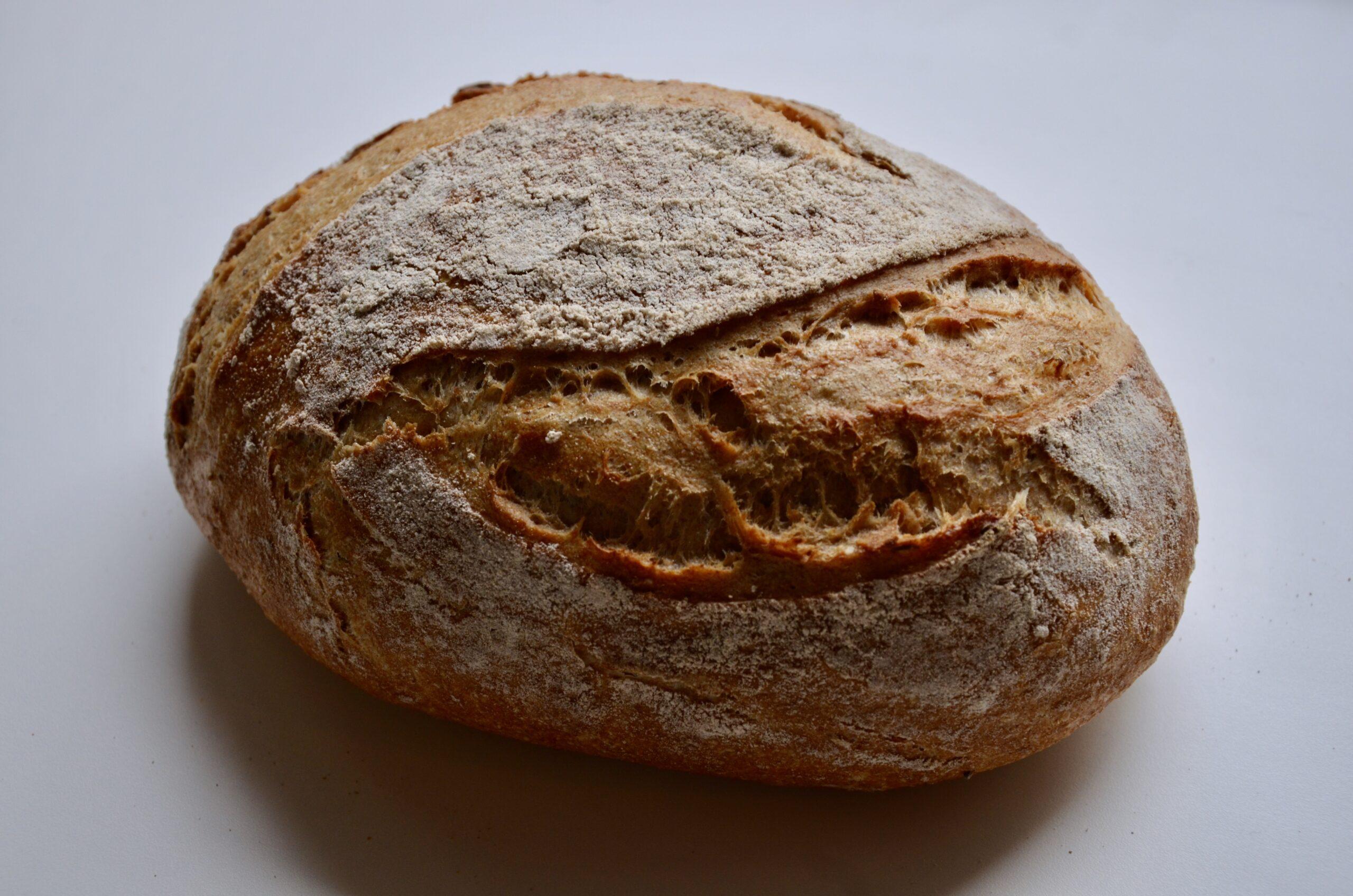 Dieses Foto zeigt das Brot von der breiten Seite. Durch Schattenwurf kommt die Kruste gut zur Geltung. Die Kruste fühlt sich spröde, knusprig, mehlig an. Wenn man mit dem Finger darüberfährt bleibt man teilweise an etwas spitzeren, knusprigen auswürfen des Teiges hängen.