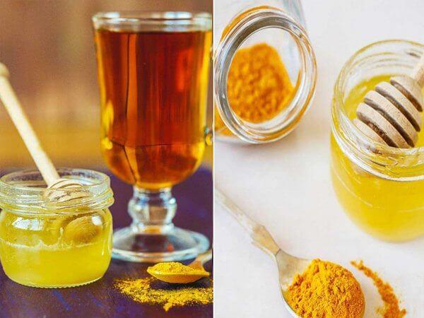 Uống tinh bột nghệ với mật ong