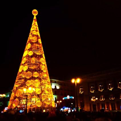 The Christmas tree at Puerta del Sol.