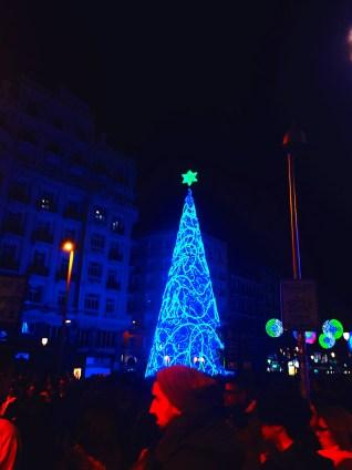 Hanukkah tree on Gran Vía.