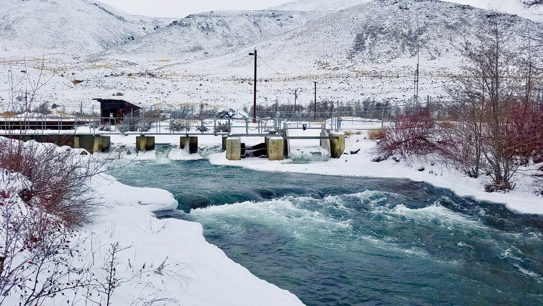 FlumeGate Irrigation Control Structure installed in snow