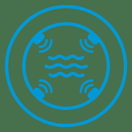 transductores en ocho planos envían y reciben pulsos ultrasónicos