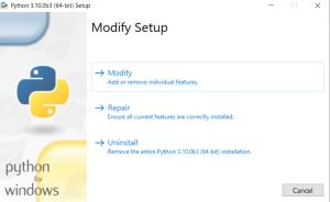 Python 3.10 Installation window for Windows
