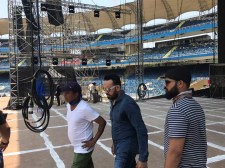 Shera (in blue) and his team at a recce at the DY Patil Stadium for the Justin Bieber show