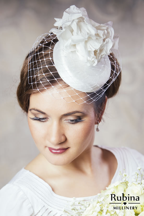 EMILY Silk Bridal Pillbox Hat With Birdcage Veil And