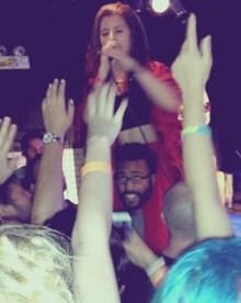 Chloe jumping on a random fan's shoulders, mine!