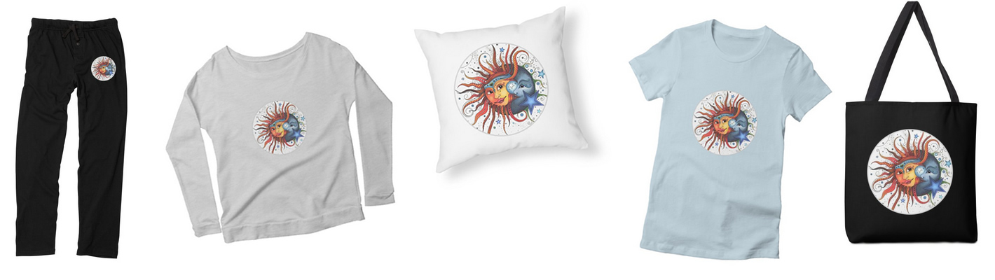 Sun and Moon lounge pants and tote, pants, pillow and shirt from the Ruby Charm Colors collection