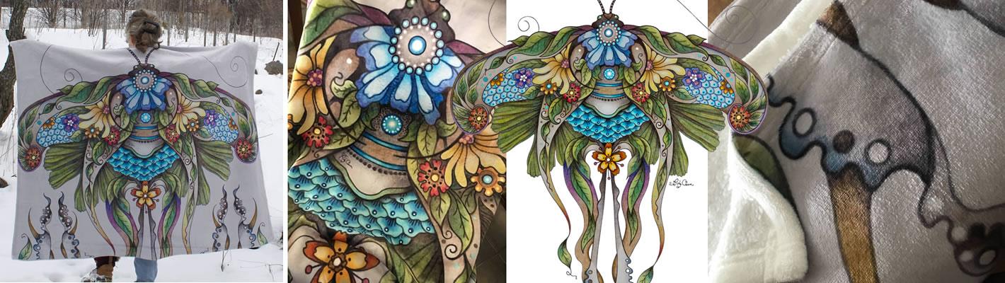 Ruby Charm Colors Luna Moth Blanket