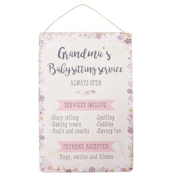 Grandmas Babysitting Service Plaque