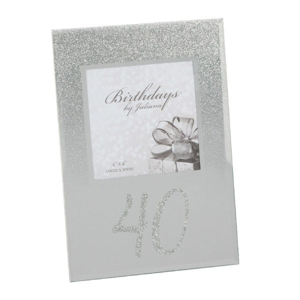 40th Birthday Glitter Mirror Frame