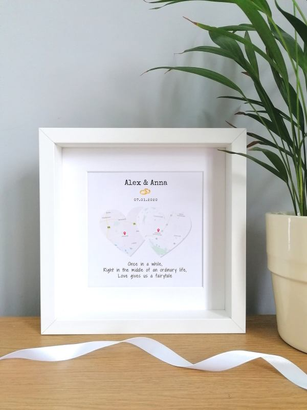 Two Maps Two Hearts Framed Wedding Gift