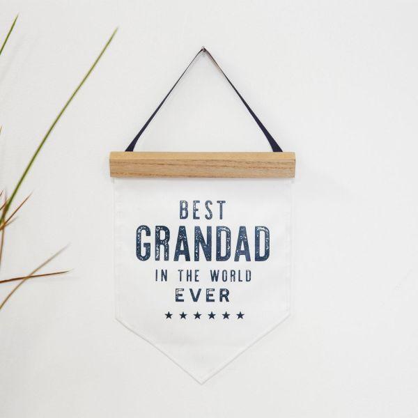 Best Grandad Ever Canvas Flag