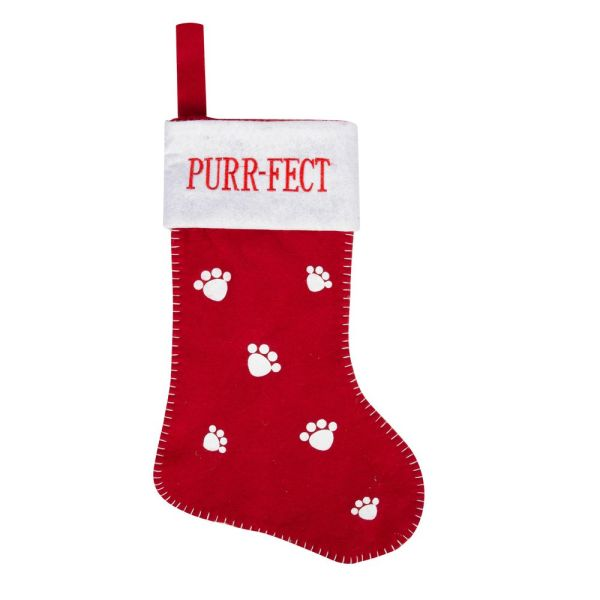 Purr-fect Red & White Cat Christmas Stocking