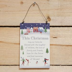 Our Home This Christmas Hanging Plaque