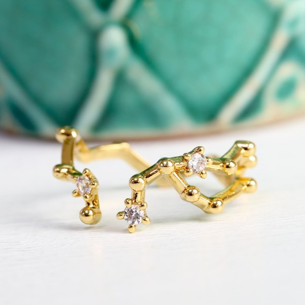 Adjustable Gold Plated Constellation Ring