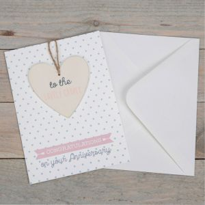 Anniversary Greeting Card with Heart Plaque