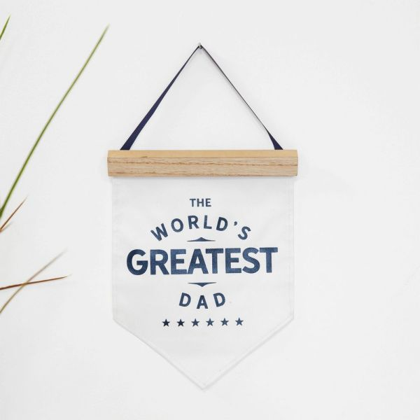 Worlds Greatest Dad Ever Canvas Flag